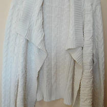 Liz Claiborne White Sweater Cardigan Shawl Collar Cable Knit Xl Photo