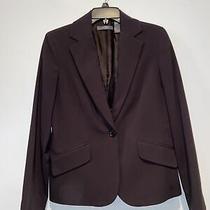 Liz Claiborne Women's Career Blazer Suit Jacket Brown Polyester 1 Button Size 8 Photo
