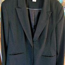 Liz Claiborne Womens Size 12 Jacket Blazer Black Pinstripe Lined Photo