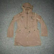 Liz Claiborne Women's Small Brown/tan Full Zip Hooded Coat Drawstring Pockets  Photo