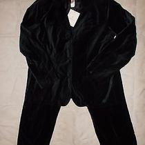 Liz Claiborne Women's Suit Black Velvet Jacket Blazer Size Xl & Pants Size 14  Photo