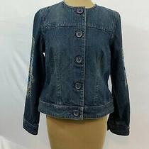 Liz Claiborne Womens Blue Long Sleeve Embroidered Denim Jacket Size Small Photo