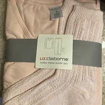 Liz Claiborne Womens Long Sleeve 3 Pc. Pajama Set Rose Leopard Size Small. Nwt Photo