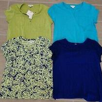 Liz Claiborne Womens Lot 4 Green Blue Purple Pocket T-Shirts Tops Sz L Euc Rare Photo
