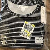 Liz Claiborne Womens Sz Medium 2 Pc Pajama Sleepwear Navy Blue/white Stripe Nwt Photo
