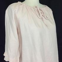 Liz Claiborne Womens Top Blouse Size Medium Blush 100% Linen Ruffled Sleeves Photo