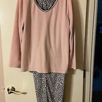 Liz Claiborne Xl Womens Pajama Set Pink With Animal Print Bottoms Photo
