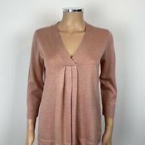 Liz Clairborne Blush Rose Pink v Neckline Pleat Front 3/4 Sleeve Jumper Top S Photo