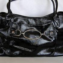 Liz & Co Black Purse Hand Bag Faux Leather Large Shoulder Tote Hobo Metal Trim  Photo