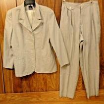 Liz Sport 2-Pc Pant Suit  Blue & White Stripe Summer Suit Womens Sz 8 Petite Photo