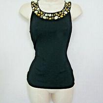 Lk Bennett Black Fitted Vest Top With Beaded Neckline & Silk Trim Size Small Photo