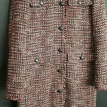 Lk Bennett London . Coat Size 8 Button Front. Red Black. Knitted. Stylish. Comfy Photo