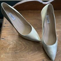 Lk Bennett Pale Gold Leather Pump 40 Heel 3 Pointed Toe Stiletto Euc Photo