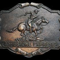 Lk25160 Vintage 1970s Tombstone Express Since 1877 Old West Belt Buckle Photo