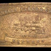 Lk26189 Wells Fargo & Co's - Express Solid Brass Fantasy Collector Buckle Photo