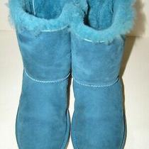 Lknew Ugg Blue Suede Sheepskin Bailey Bows Boots Womens Ladies Sz 6 Look Unworn Photo