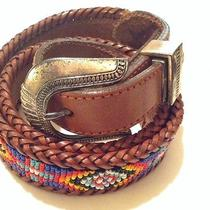 Ll Bean Vintage Aztec Indian Beaded Belt Leather Braided Brighton Inspired  Photo
