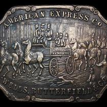 Ll03102 Vintage American Express Co Wagon Brass Fantasy Collector Buckle Photo