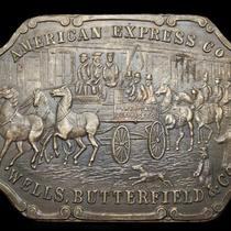 Ll03103 Vintage American Express/wells Butterfield Solid Brass Fantasy Buckle Photo