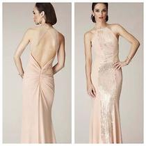 Lm by Mignon Nwt Sequin Sleeveless Full-Length Sheer Straps Gown 2 Blush  Prom Photo
