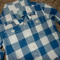 Ln 18-24m Baby Gap Blue White Checker Button Up Bodysuit Dress Shirt Photo