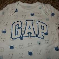 Ln 3-6m Baby Gap Brannan Bear Blue Bear Print Short Sleeve Bodysuit Shirt Outfit Photo