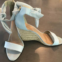 Ln Anthropologie Raphaella Booz Size 8 Baby Blue Leather Ankle Tie Wedge Shoes Photo
