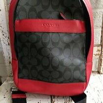 Ln Coach Leather Mini Sling Backpack Red & Charcoal - Msrp 350 Photo