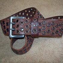 Lndieselmens or Womens Beltmyummy Brown Leathergrommet Detailmade in Italy Photo