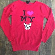 Ln Gap Kids Girl's I Love My Dog Red Sweater Tunic Top Shirt L 10 Yr Photo