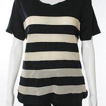 Lna Black Beige Cotton Sheer Mesh Striped Short Sleeve Shirt Top Sz S Photo