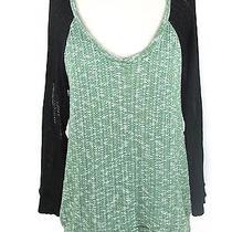 Lna Women Knit Black Green Scoop Neck Line Cut Out Top Shirt Blouse Sweater Xs Photo