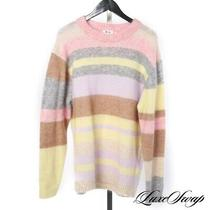 Lnwot Acne Studios Mohair Blend Lilac Pink Yellow Shaggy Stripe Long Sweater M Photo