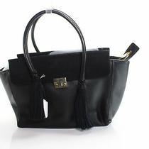 Loeffler Randal Women's Handbag Black Gold Nappa Satchel Tote Leather 650- 680 Photo