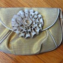 Loeffler Randall Gold Metallic Rosette Accent Clutch Handbag Wrist Strap Photo