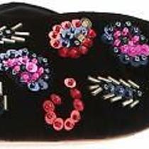 Loeffler Randall Womens Quin-Vlsq Almond Toe Slide Flats Black/multi Size 9.0 Photo