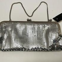 Loft Ann Taylor Silver Sequin Clutch Purse -  Original Tags New Photo