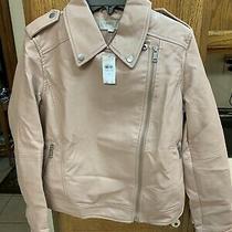 Loft Women's Size 6 Blush Pink Faux Leather Full Zip Coat New Photo