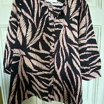 Lollys Laundry Nwt Amalie Blouse Top Shirt S Small Red Black Beige Collarless Photo