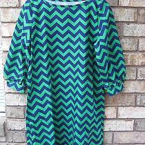 Lolly Wolly Doodle Boutique Chevron Tunic Shirt Dress Navy Green M Medium Photo