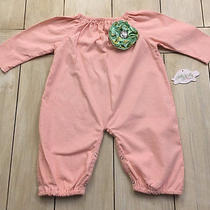 Lolly Wolly Doodle Nwt Pink Corduroy Romper  Green Gold Flower  9-12 Months  Photo
