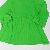 Lolly Wolly Doodle Womens Tunic Top Empire Waist Ruffle Sleeve Green Xs 1962 Photo