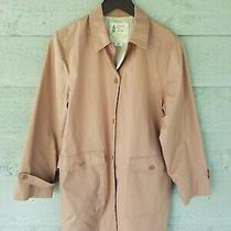 London Fog Women's Button Front Trench Coat Pink/ Blush Size 10 Belted Vintage  Photo