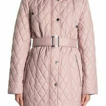 London Fog Women's Quilted Belted Hooded Jacket Size Xl Blush Pink Zip Snap Nwt  Photo