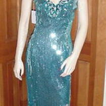 Long Aqua Teal Irridescent Helio & Silver Sequin Gown With Matching Earrings - S Photo
