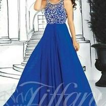 Long Blue Tiffany Prom Dress Diamond Photo