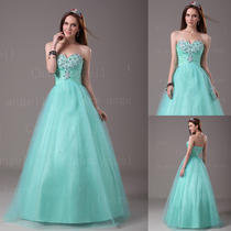 Long Formal Prom Dress Party Evening Dresses Quinceaneara Ball Gowns in Stock Photo
