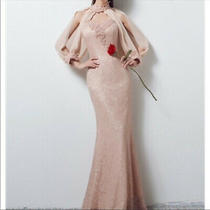 Long Lace Blush/pink Strapless Gown With Cover/cuffs Size 6 Great Condition Photo