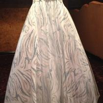 Long  Pageant or  Prom Dress  White /aqua (Light Blue) Strapless  Photo