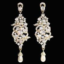 Long Pave Wedding Earrings Goldtone Made With Swarovski Crystal Photo